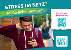 Flyer jugend.support Stress im Netz
