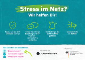 Flyer jugend.support Hilfe bei Stress im Netz
